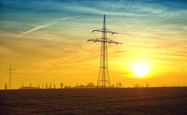 夕日 電線